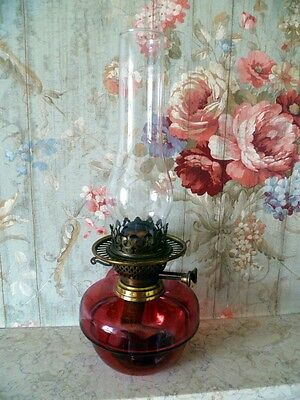 """Antique Oil Lamp: Brass and Cranberry/Ruby Glass: 16"""""""