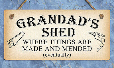 Hanging metal sign Grandads Shed mancave funny plaques signs home gifts