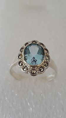 Vintage Blue Sapphire and Marcasite Solid Silver 925 Ring Gem Stone Ring Size U