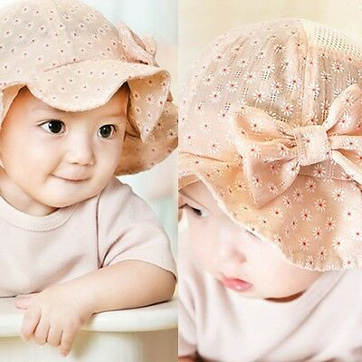 Toddler Baby Girls Kids Princess Hat Flower Sun Cap Cotton Bucket Beach Hat