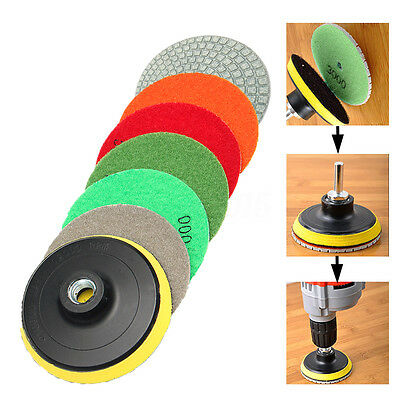 7pcs Diamond Polishing Pads 4 inch Wet/Dry Set Kit Granite Concrete Stone Marble