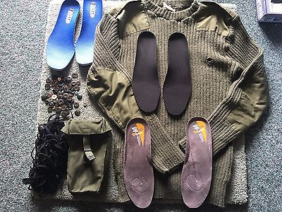 Job Lot of Military kit, accessories Laces, buttons, jumper, boot inserts, pouch