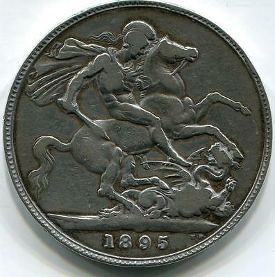 1895 Solid Sterling Silver Queen Victoria Crown ( 5 Shillings ) Regnal Date LIX