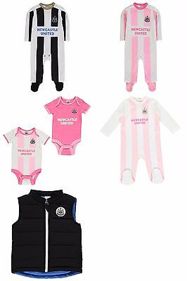 Newcastle United NUFU Baby Football Kit Sleepsuit Hoodie Gilet Bodyvest 0 - 18 m
