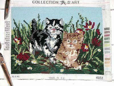 """Skillfully Completed Collection D'asrt - Kittens Panel 8 3/4"""" X 11 3/4"""""""