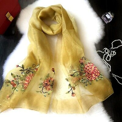 Fashion Women Ladies Elegant Silk Wool Embroidered Floral Large Scarf Shawl