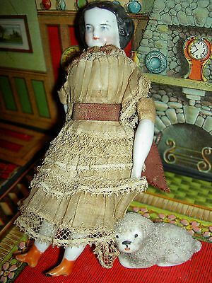 Antique highbrow china dollhouse doll, c1890 all original clothes, orange boots