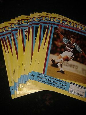 Burnley Fc Football Programme Bundle Of 17 From 92/93