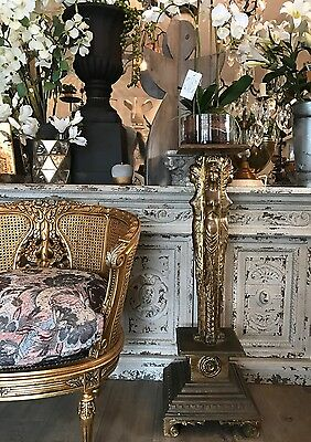 French Style Vintage Gold Gilt Timber Plinth Pedestal Plant Stand Lamp Table