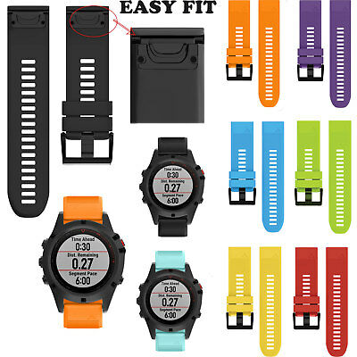 Quick Lock Replacement Silicone Bracelet Band Strap For Garmin Fenix 5X/3/3HR