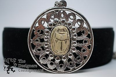 Vintage Silver Tone Pendant Necklace Carved Stone Egyptian Style Scarab Beetle