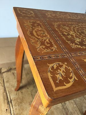 Vintage Inlaid Wood Swiss Movement Music Table - Sewing - Jewelry Box