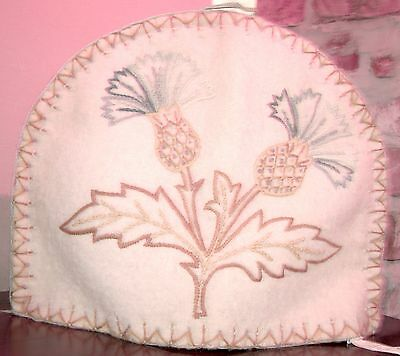 Vintage Early 20Th C Embroidered Tapestry Felted Wool Hot Water Cosy/cover