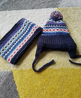 baby boys 2-9 months hat and snood set
