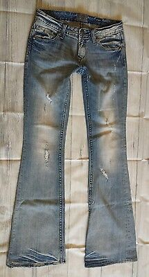 Rerock For Express Destroyed Distressed Flare Jeans Size 0 Long 34 Inseam