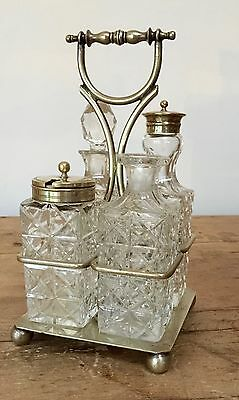 Vintage Well Loved/Repaired 'Jb & S' Epns 9806 4 Piece Condiment Set On Stand