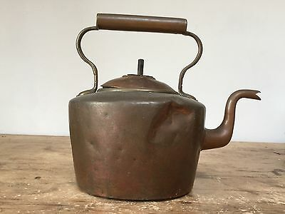 Antique 19Th C Copper Kettle '8' Pint - In Original Condition