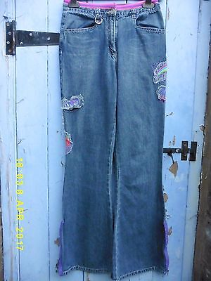 "VINTAGE Girls Jeans  Age12-13 W.25-28"" Leg 30"" Embroidery/zips Perfect Condition"