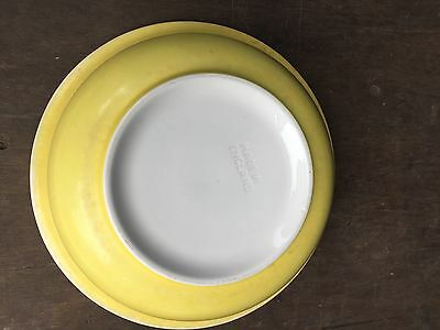 "Vintage Mid 20Th C Large Yellow Glazed Wash  Bowl14"" Wide X 4 1/2"" High"