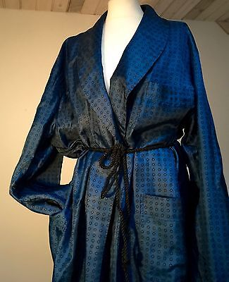 Vintage 1940-60's Men's Classic Blue Black Spot Robe Smoking/dressing Gown Exlg
