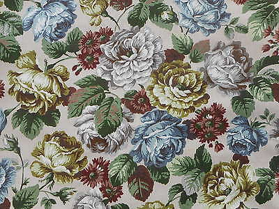 Lovely unused vintage linen union floral furnishing fabric - 1M lengths, roses