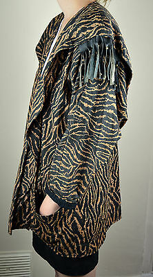 Vintage 1980's Animal Tiger Print Hip Length Casual Jacket Size 12