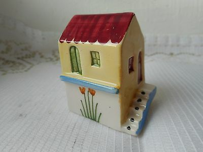 stunning vintage Greek porcelain hand painted miniature house ornament