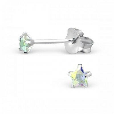 925 Sterling Silver AB Aurora Borealis Cubic Zirconia Small Star Stud Earrings