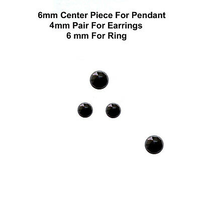 4 pc set 6/4 mm AAA Quality Rose Cut  Faceted Cabochon Black Spinal Loose Gems