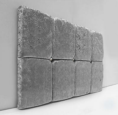 Deluxe Cube Designer Headboard In Crushed Velvet Fabric Single Double King!