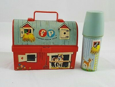 Vintage 1962 Fisher Price Toy Barn Lunch Box With Thermos Farm House Child