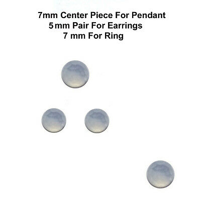 4 pc set 7/5 mm AAA Quality Rose Cut Faceted Cabochon Chalcedony Loose Gems