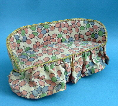 Vintage dolls house home made cotton covered sofa.