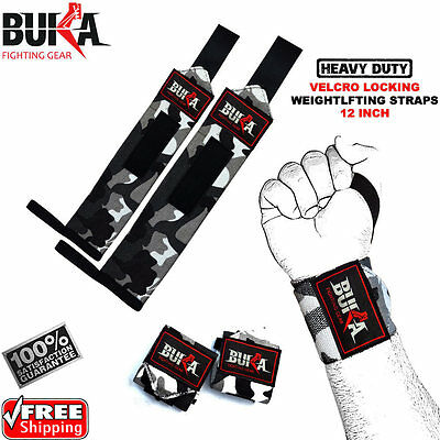 Buka Weight Lifting Straps. Weightlifting Bodybuilding Wrist Bar Support Wraps