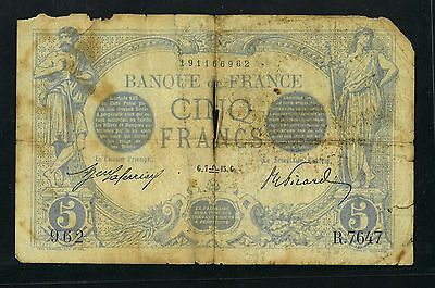 France 1916 Issue 5 Franc Scarce Note  G7  15G