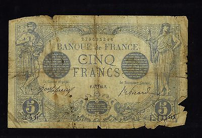 France 1916 Issue 5 Franc Scarce Note    F4 16F