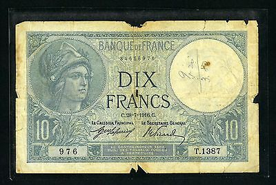 France 1916 Issue 10 Franc Scarce Note