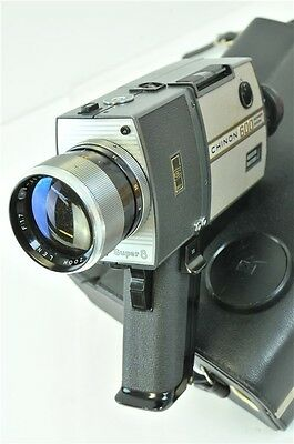Vintage Chinon 600 Super 8 Movie Camera Power Zoom With 4 Film Cartridges & Case