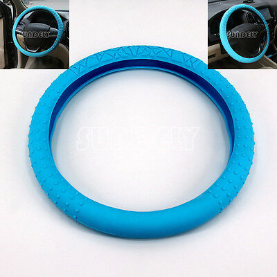 Skidproof Car steering wheel cover (36cm - 40cm) Silicone Soft Cover Baby blue