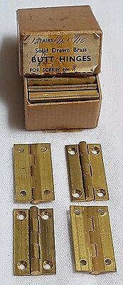 "New Old Stock 22 Brass Hinges 1 1/4"" X 11/16"" Solid Drawn Brass Butt Hinges"