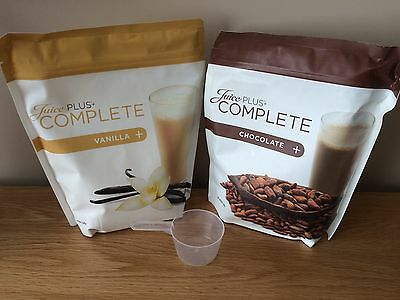 JUICE PLUS chocolate & Vanilla shake pouch x2, With Scoop, New & Sealed