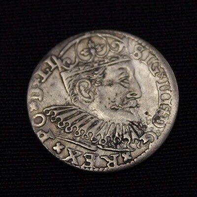 POLAND 1598 3 groschen , Trojak , very nice coin