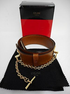 vintage Celine belt chestnut brown leather & gold tone chain & turnlock 70cm M10