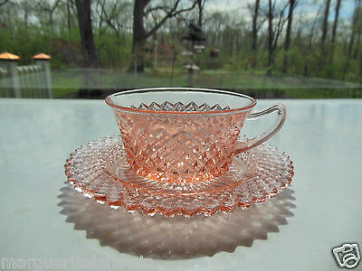 Anchor Hocking Glass Pink Miss America Cup & Saucer Set