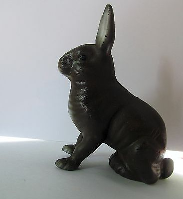 Vintage Cast Iron Bunny Rabbit, Penny Bank, Piggy Bank, Paperweight
