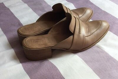 Women's Next Tan Leather Slip On Mules Size 5
