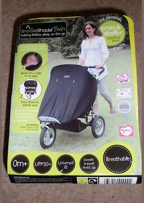 Snoozeshade Black Out Cover UV Blind Shade for Double Twin Stroller Pushchair