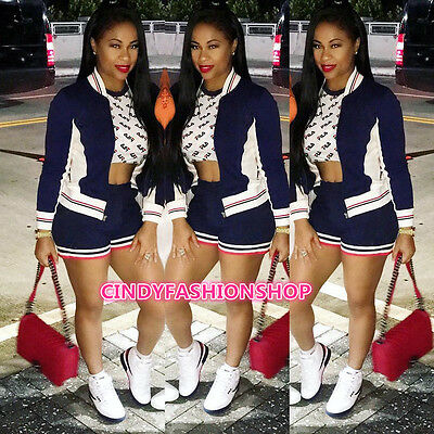 USA  Hot Fashion 2 PC Set Casual Long Sleeve Play suit Patchwork Sport Jumpsuit