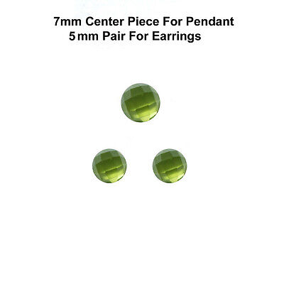 3 pc set 7/5 mm AAA Quality Rose Cut Faceted Cabochon Natural Peridot Loose Gems
