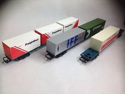 3 HORNBY R633 CONTAINER WAGONS OO Gauge